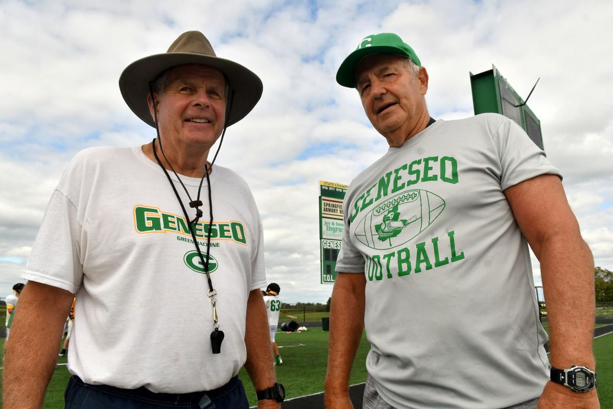 Hall of Fame assistant coaches Larry Johnsen Sr. and Denny Diericx with Geneseo football.