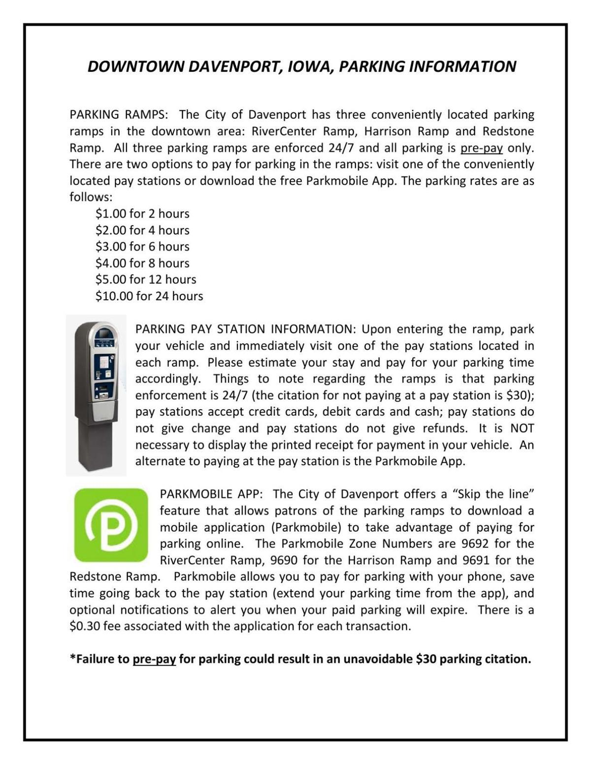 Downtown Davenport Parking Information