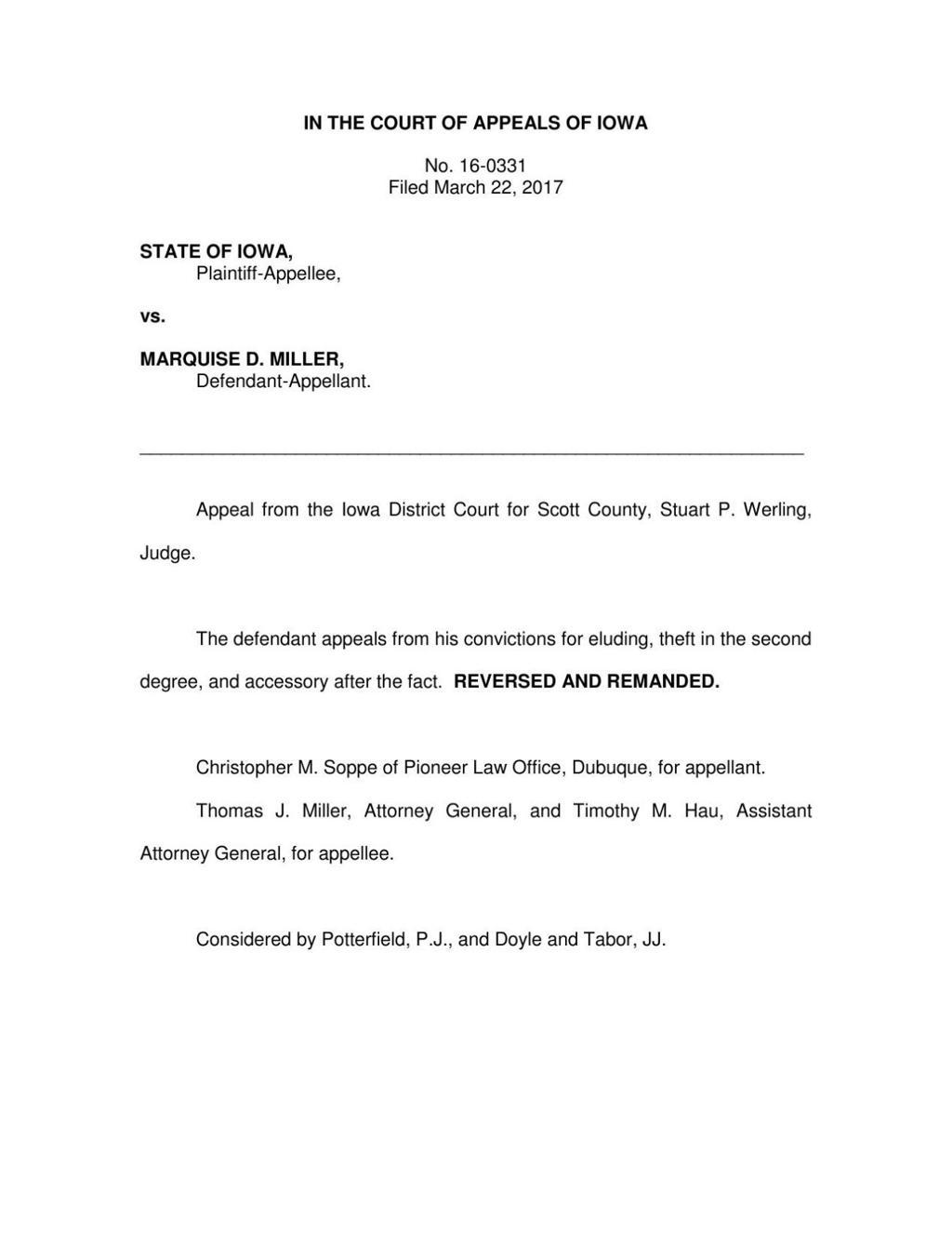 Iowa Court of Appeals tosses Davenport man's conviction