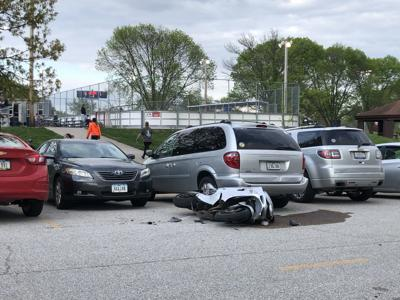 Police are responding to the scene of a motorcycle crash in Bettendorf.