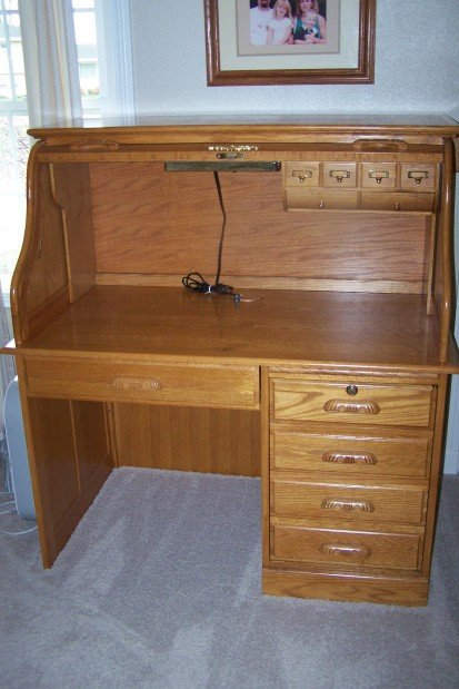 Oak Express light oak roll top computer desk 48 x 29 x image