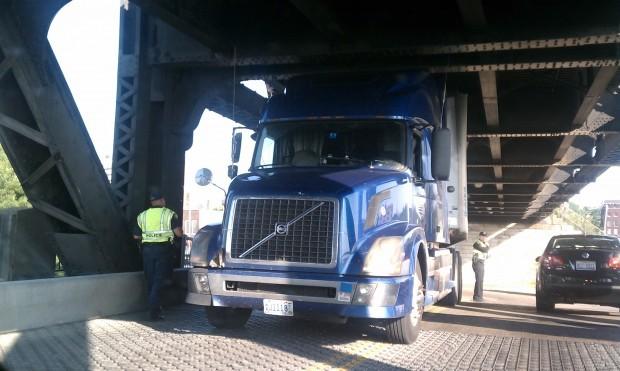 Truck hits Government Bridge