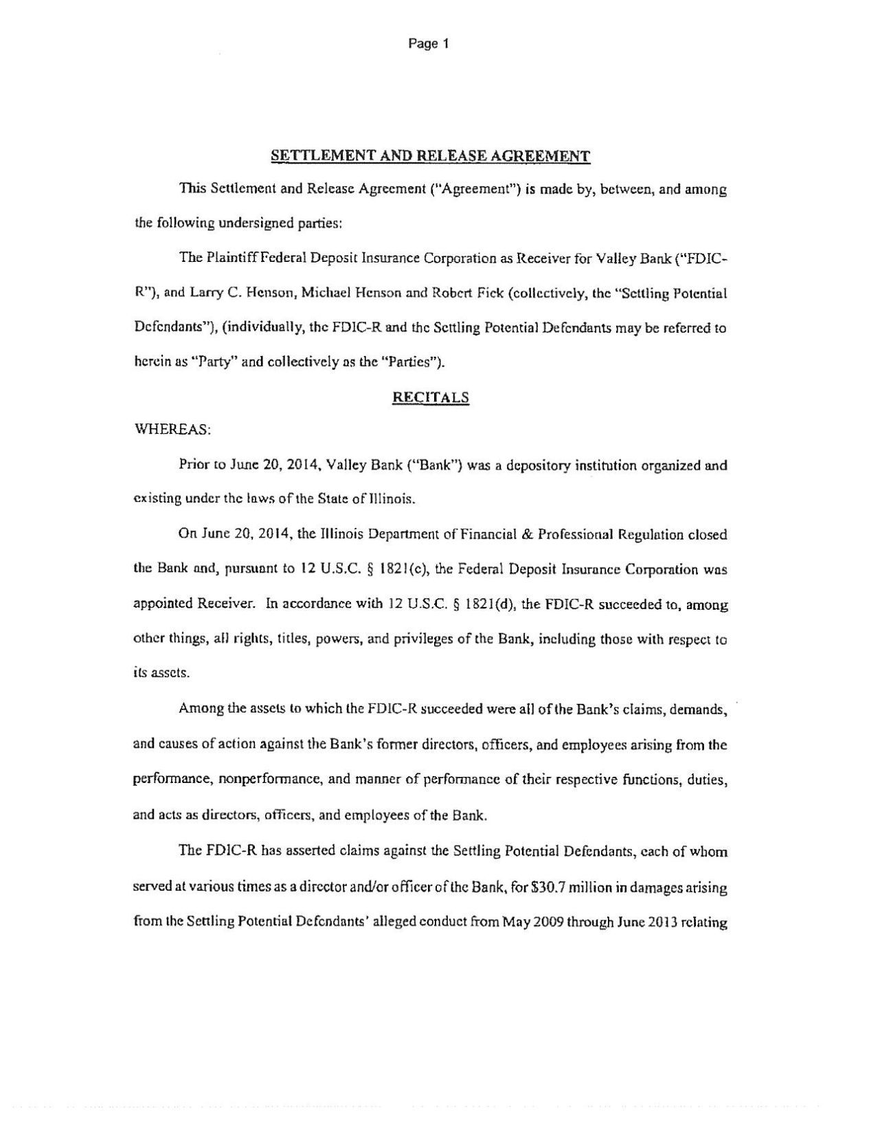 Download PDF FDIC Settlement Agreement