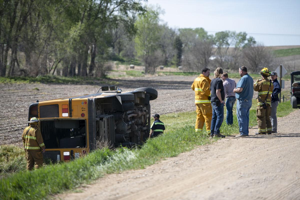 Overturned school bus