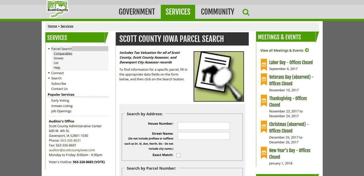 Scott County Assessor's website