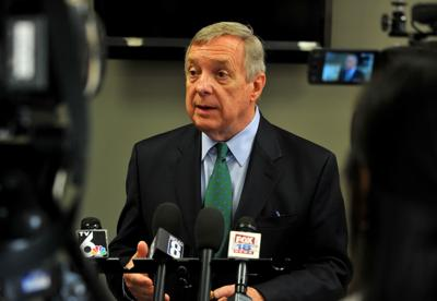 Sen. Dick Durbin speaking at the Community Health Care Clinic about the Affordable Insulin Approvals Now Act
