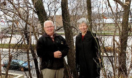 Bill Ashton and Kathy Wine on embankment