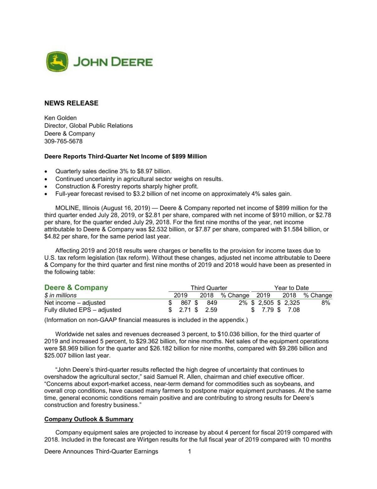 Deere Q3 earnings