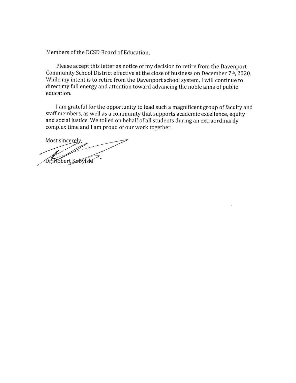 Robert Kobylski retirement letter