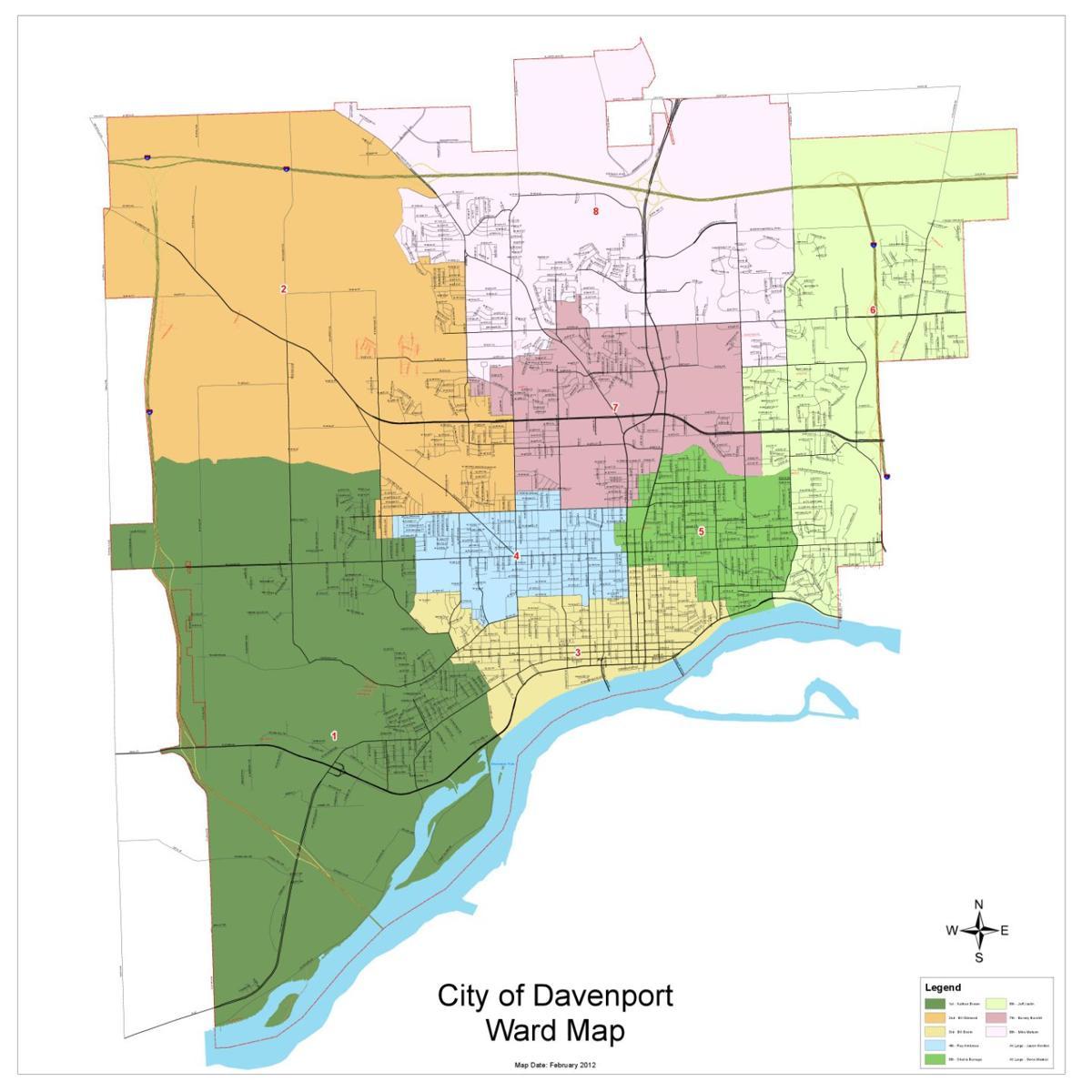 Davenport Wards map | | qctimes.com on iowa river iowa map, stockton iowa map, iowa state map, jackson iowa map, lacrosse iowa map, aplington iowa map, dundee iowa map, shueyville iowa map, quad cities map, kansas iowa map, norfolk iowa map, iowa county map, chester iowa map, clemons iowa map, cheyenne iowa map, dubuque iowa map, interstate 80 iowa map, bettendorf iowa map, clermont iowa map, council bluffs iowa map,