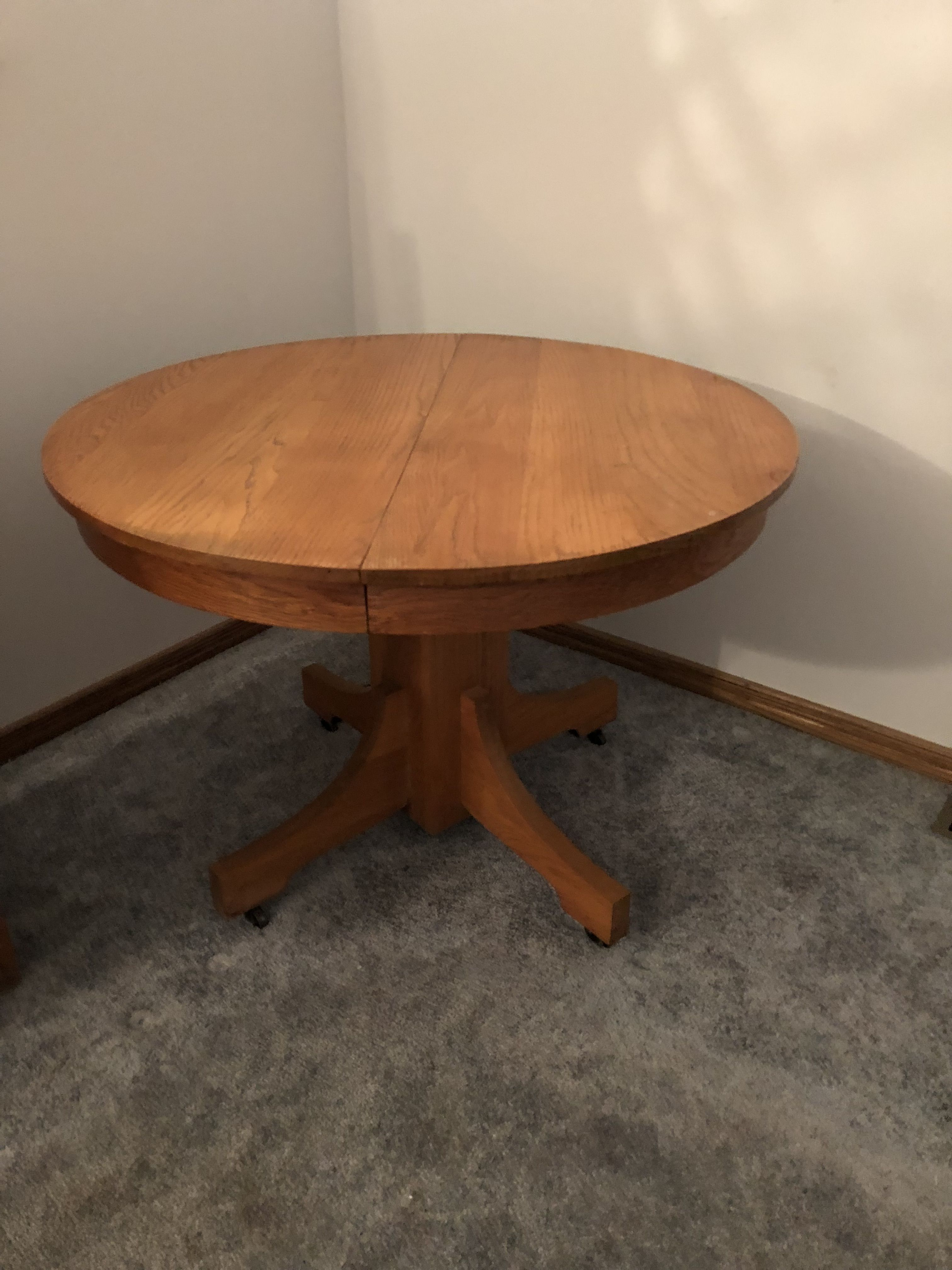 Oak pedestal table image 1