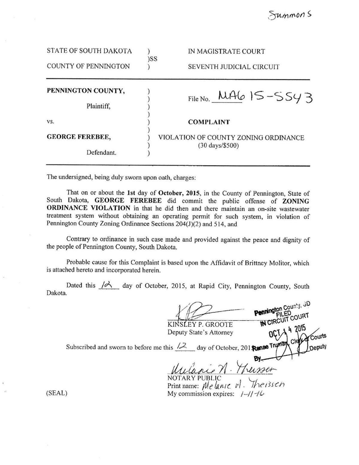 Pennington County v. George Ferebee complaint and affidavit