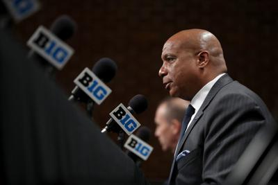 Big Ten commissioner Kevin Warren speaks about the cancellation of the Men's Big 10 Basketball Tournament at Bankers Life Fieldhouse in Indianapolis on March 12, 2020.