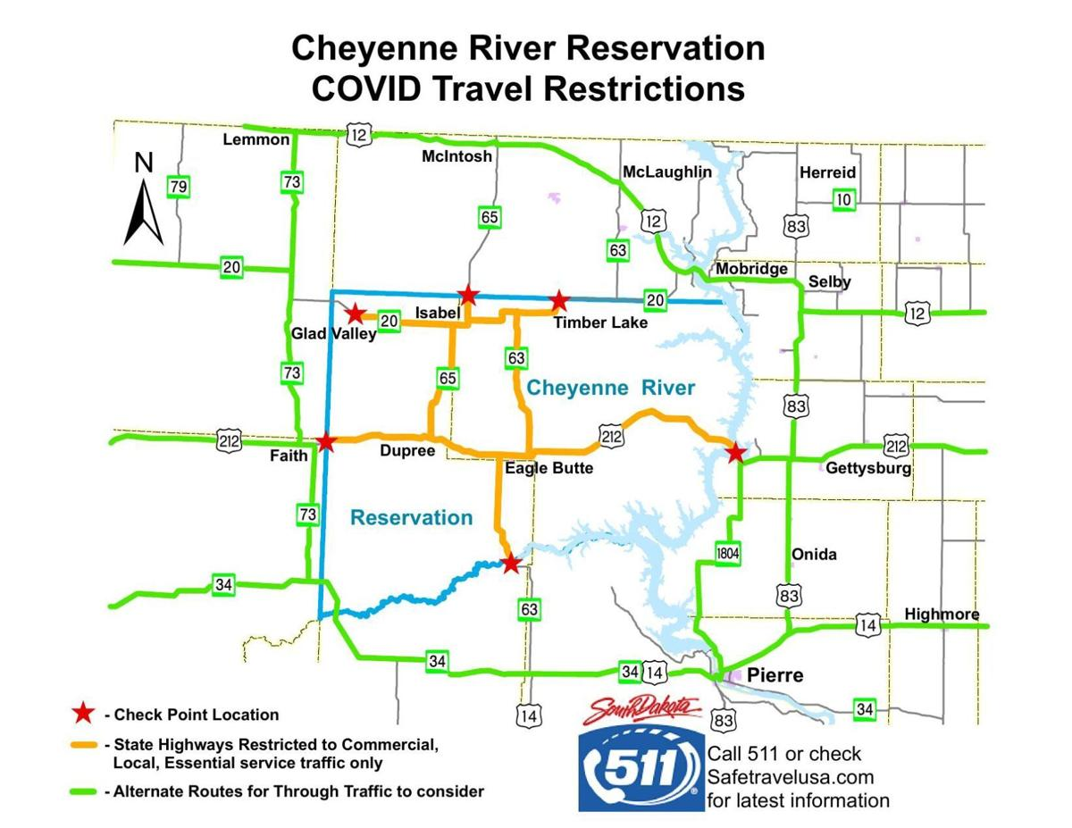Cheyenne River Reservation checkpoints map