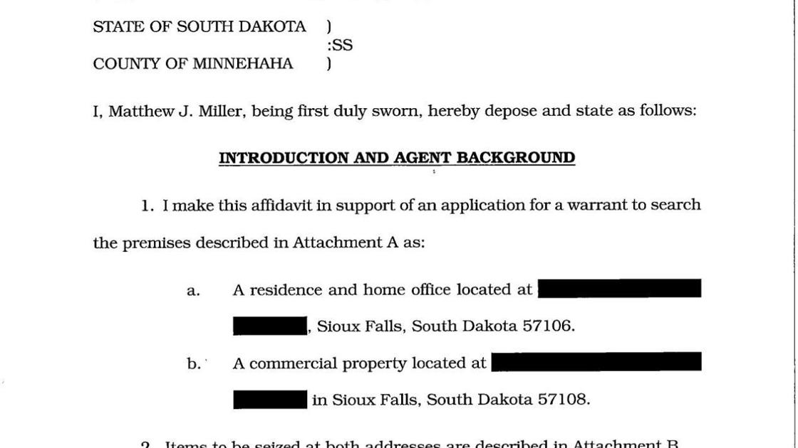 Affidavit in support of Erickson search warrant     rapidcityjournal com