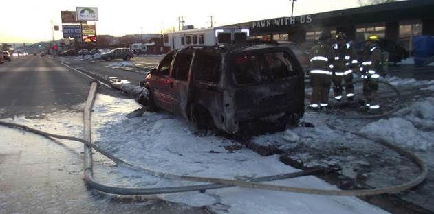 Minivan that caught fire on East North Street on April 3, 2018