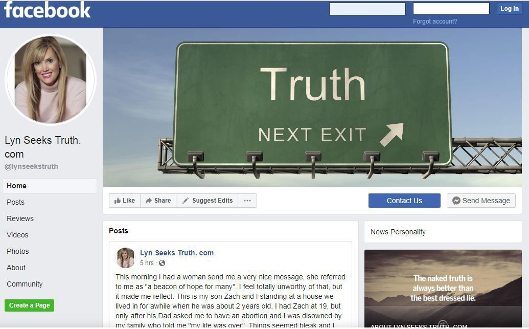 """Lyn Seeks Truth. com"" Facebook page"