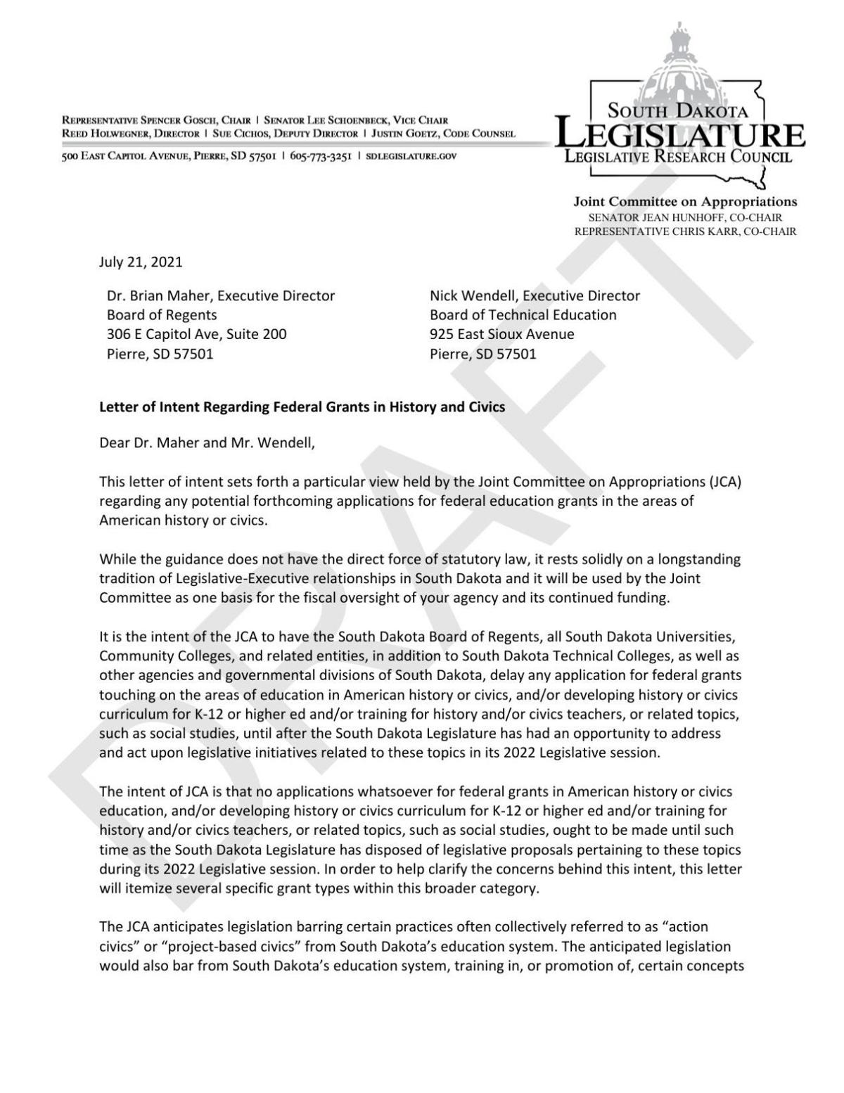 Letter of Intent Regard Federal Grants in History and Civics