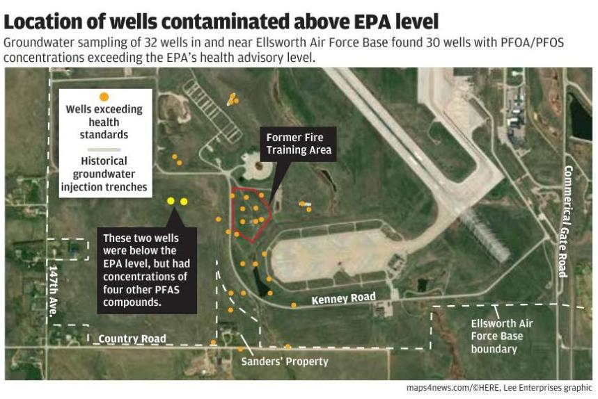Ellsworth's contaminated well locations