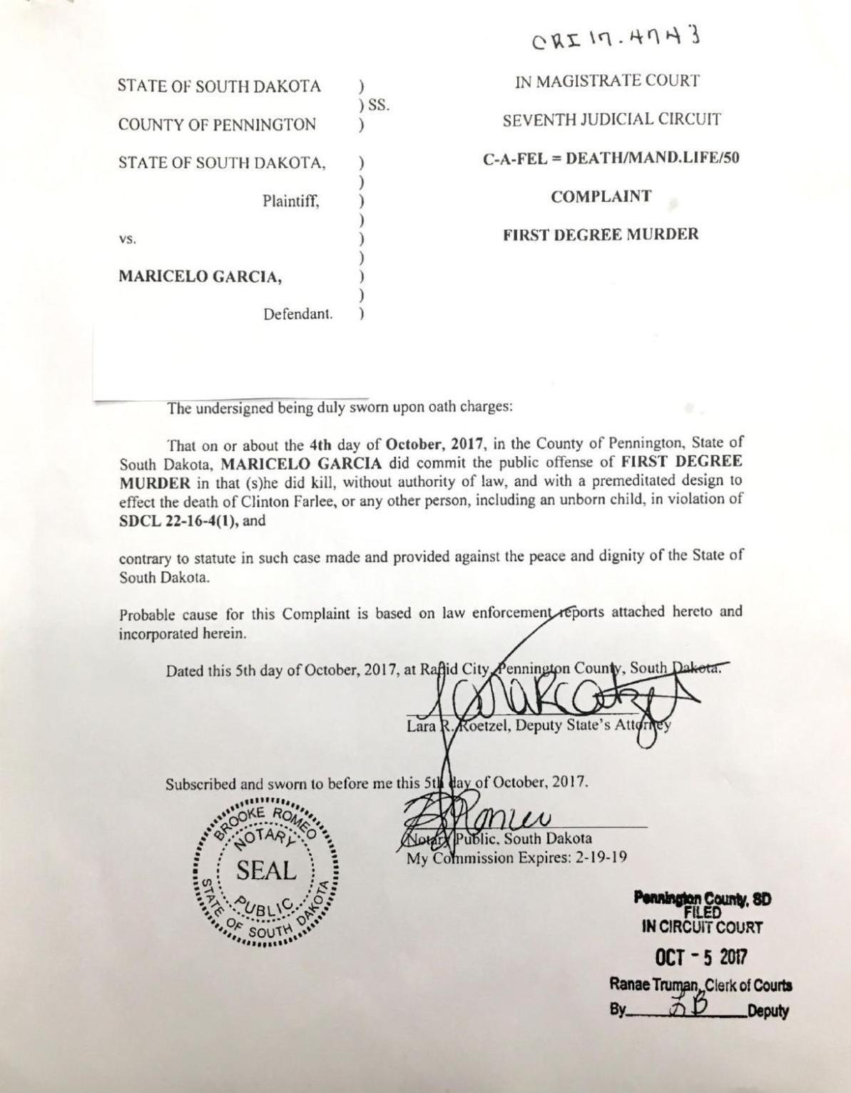 Maricelo Garcia - criminal complaint | | rapidcityjournal com