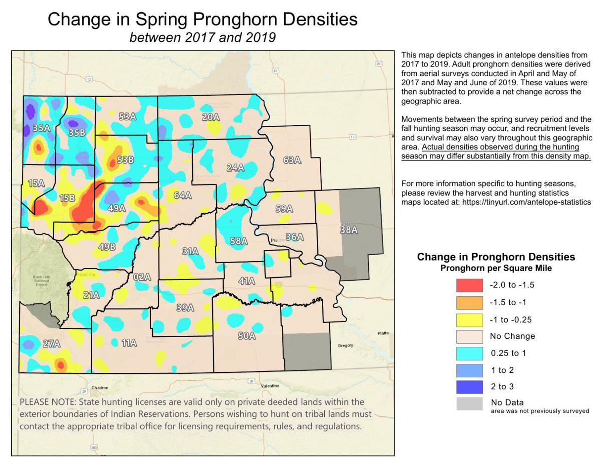 south dakota population density map Pronghorn Antelope Density Map Rapidcityjournal Com south dakota population density map