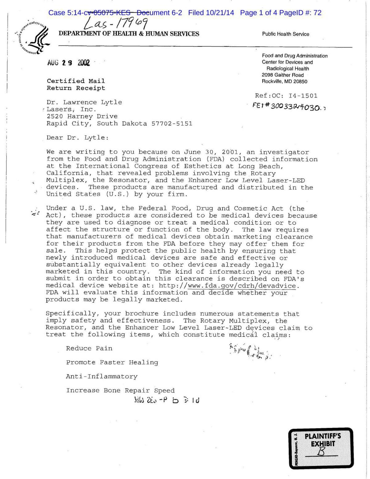 2002 Fda Warning Letter To Larry Lytle Rapidcityjournal