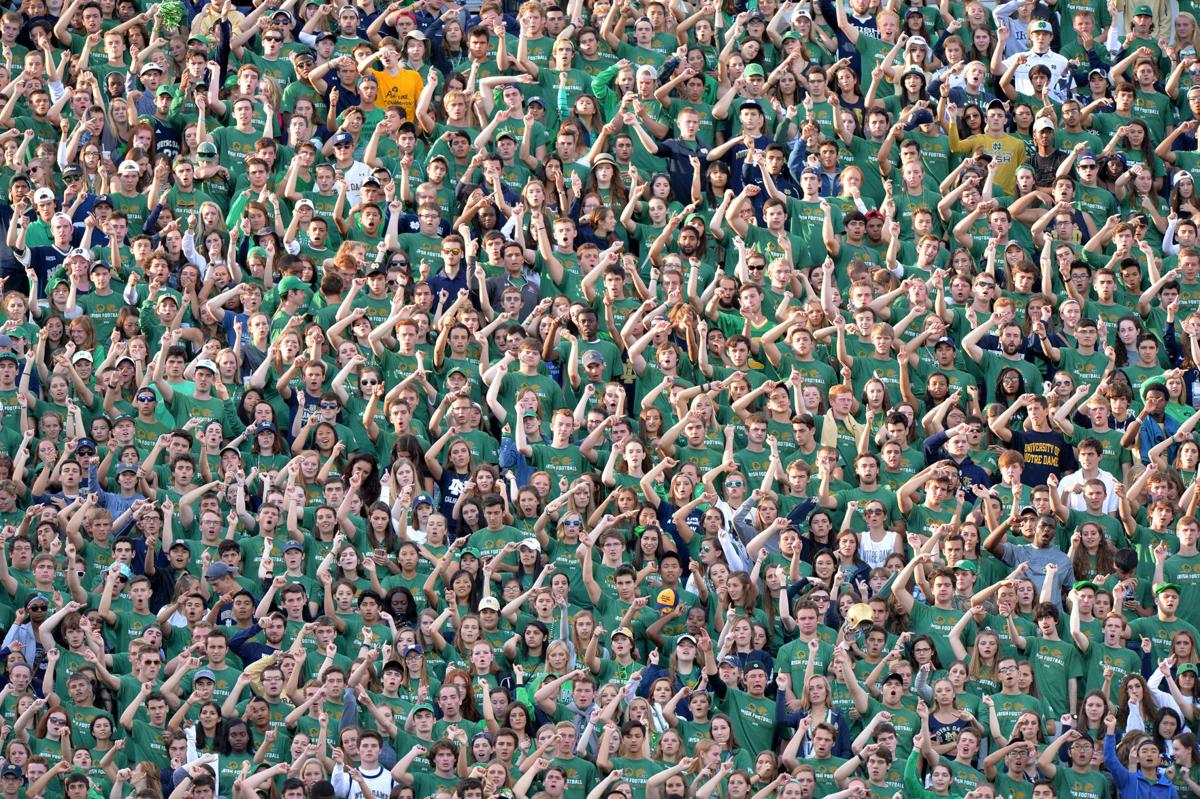 Notre Dame fans cheer for their team in the second half against Georgia Tech at Notre Dame Stadium in South Bend, Ind., on Saturday, Sept. 19, 2015.