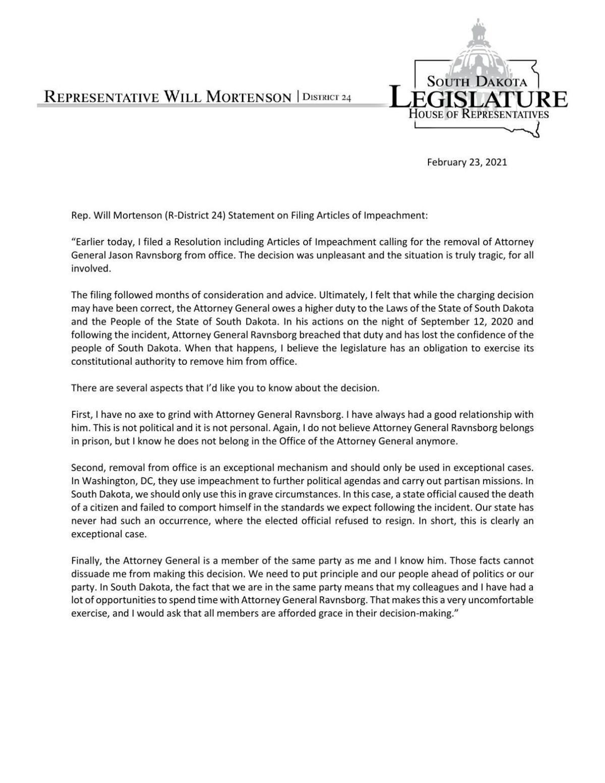 Mortenson news release
