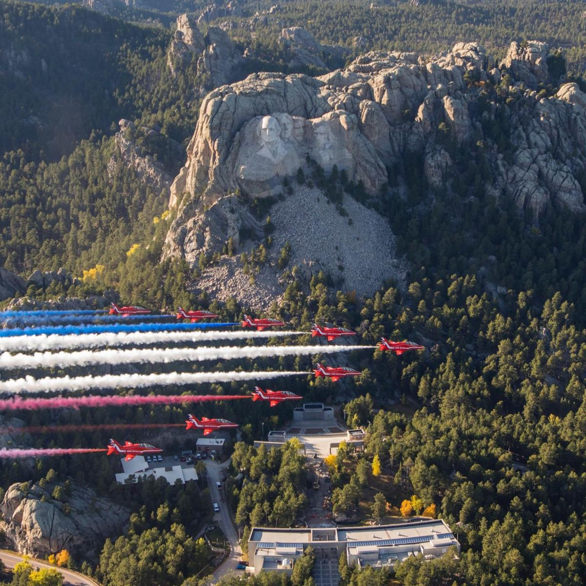 Red Arrows over Mount Rushmore