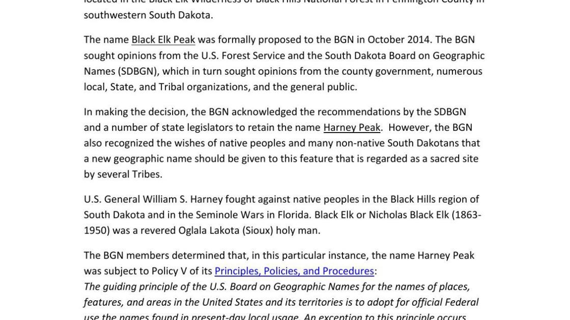 Statement of U S  Board on Geographic Names about Harney