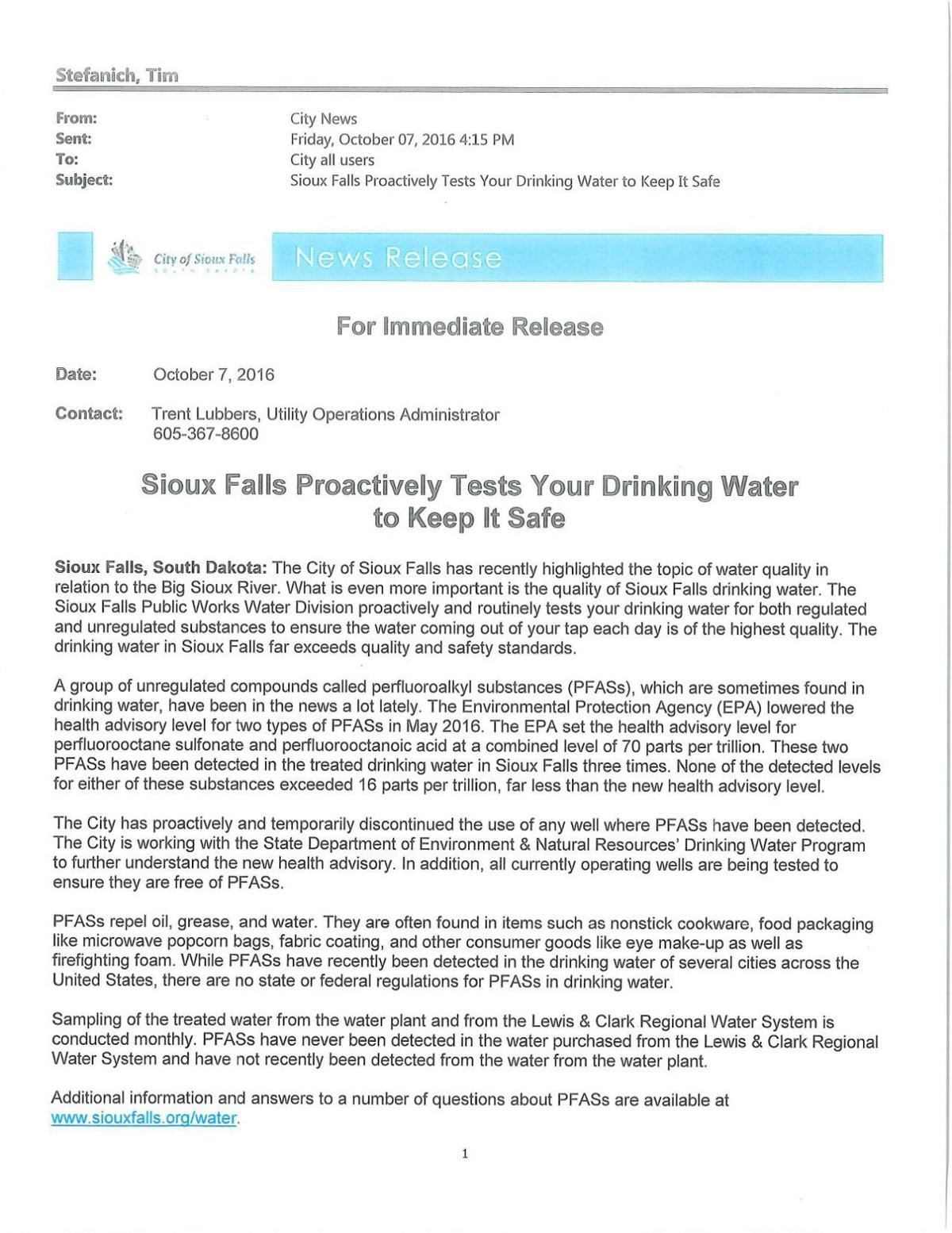 2016 Sioux Falls press release noting PFAS detections