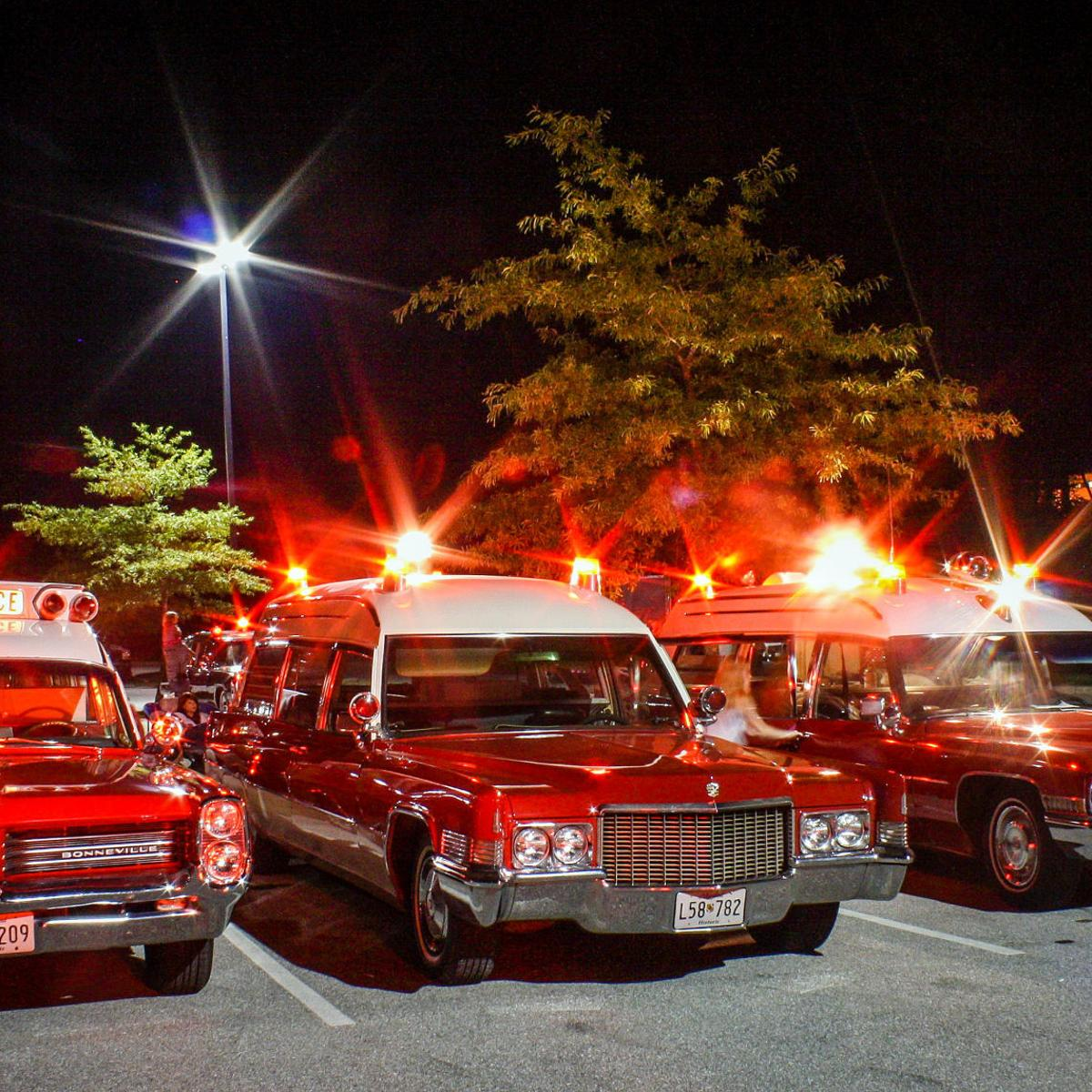 Vintage ambulances, hearses, funeral limousines coming to