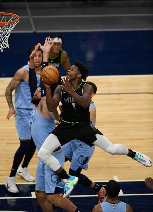Anthony Edwards #1 of the Minnesota Timberwolves shoots the ball against the Memphis Grizzlies during the fourth quarter of the game at Target Center on May 5, 2021 in Minneapolis, Minnesota.