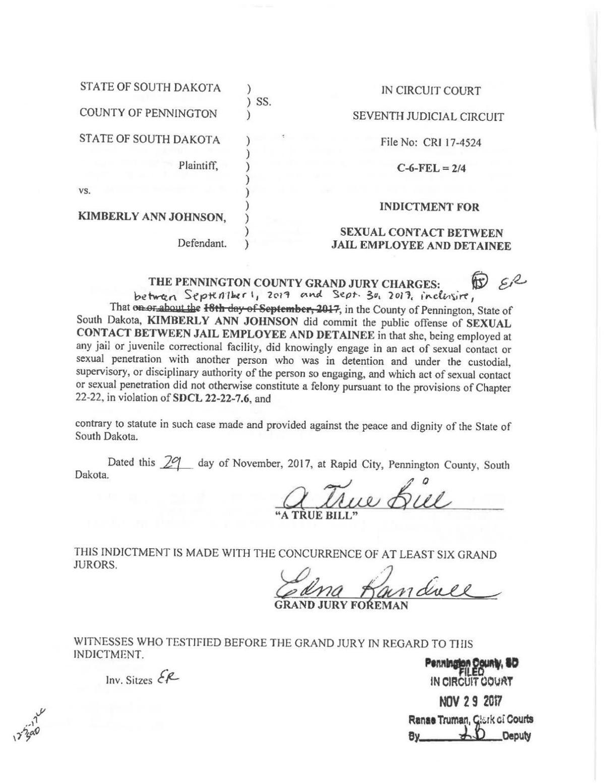 State of South Dakota vs. Kimberly Ann Johnson - indictment