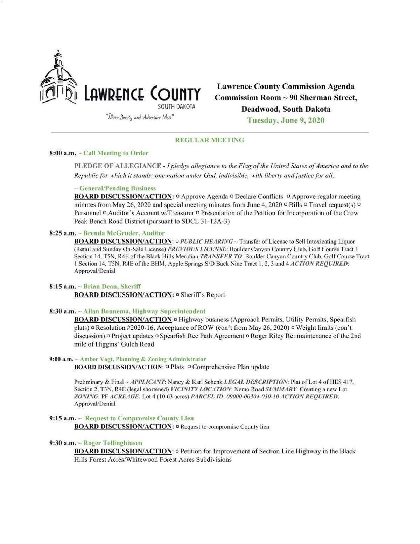 Lawrence County Agenda, June 9