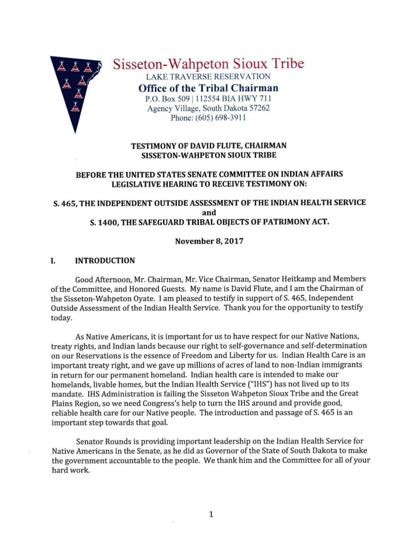 Sisseton-Wahpeton Chairman David Flute's testimony to Indian Affairs