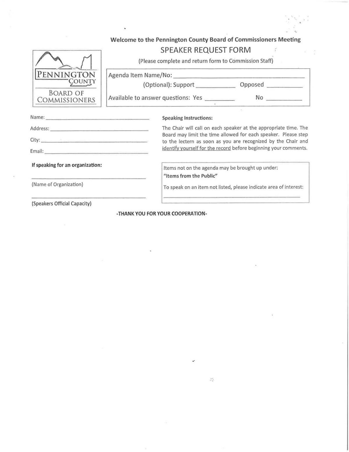 Pennington County Speaker Request form