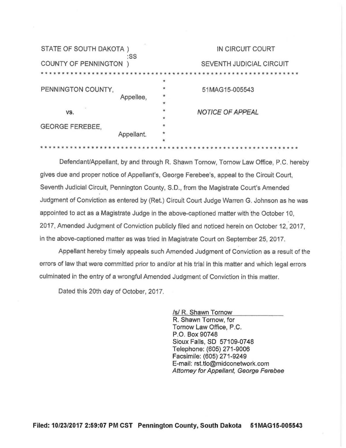 Pennington County v. George Ferebee - notice of appeal