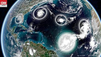 5 tropical cyclones are in the Atlantic at the same time for only the second time in history