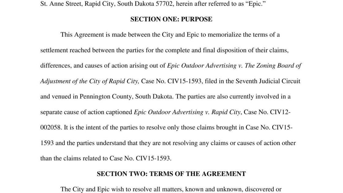 Settlement Agreement Between Rapid City And Epic Outdoor Advertising