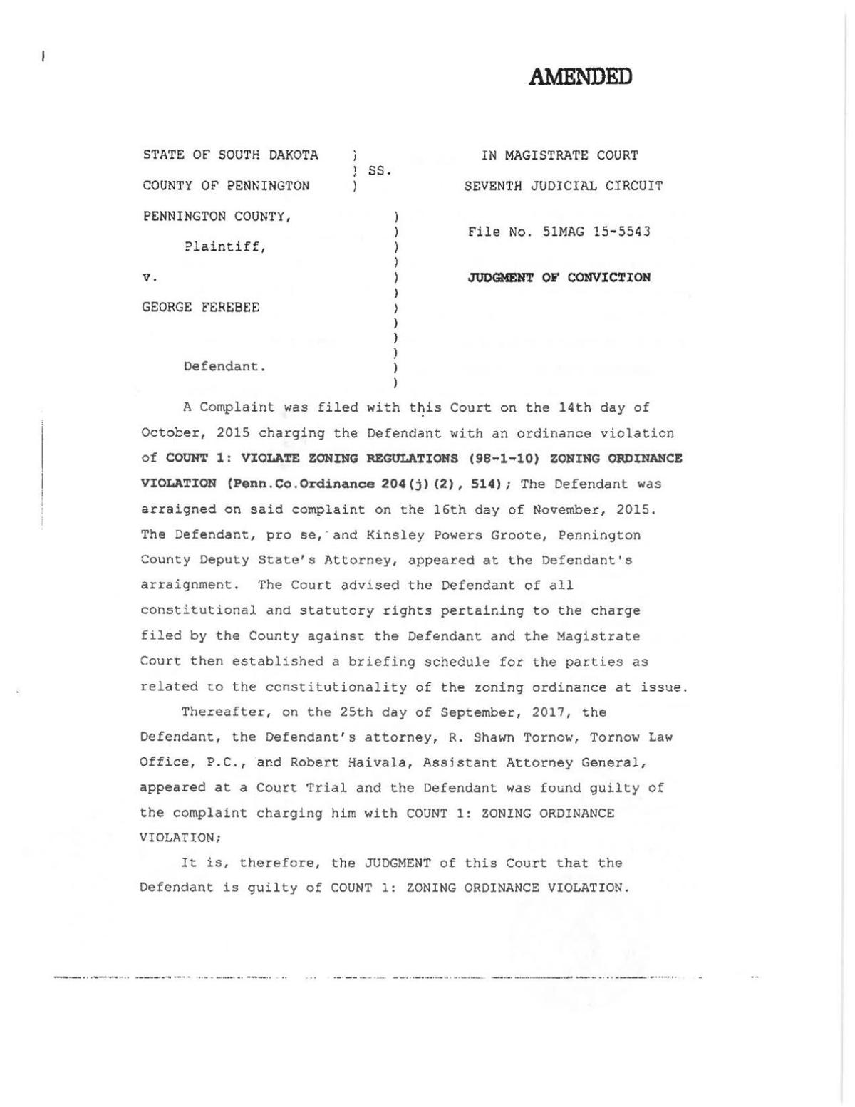 Pennington County v. George Ferebee - amended judgment of conviction