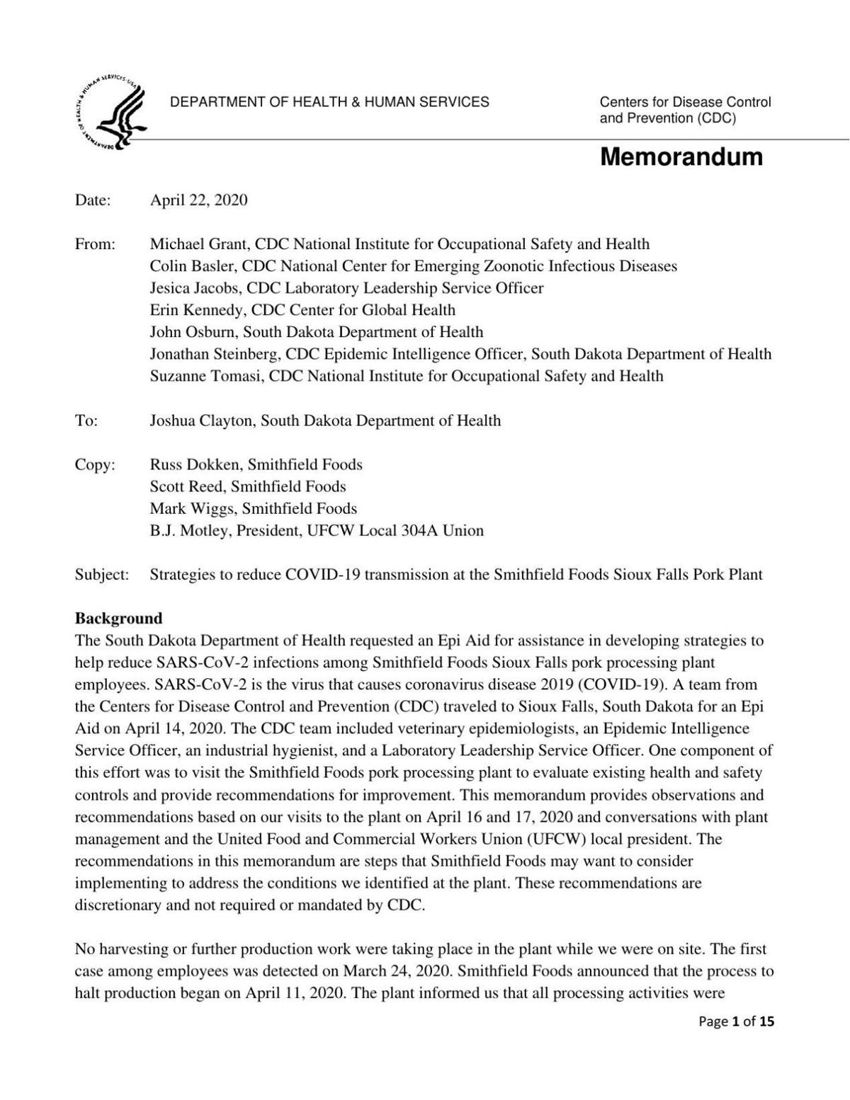 CDC releases report with recommendations to Smithfield on ...