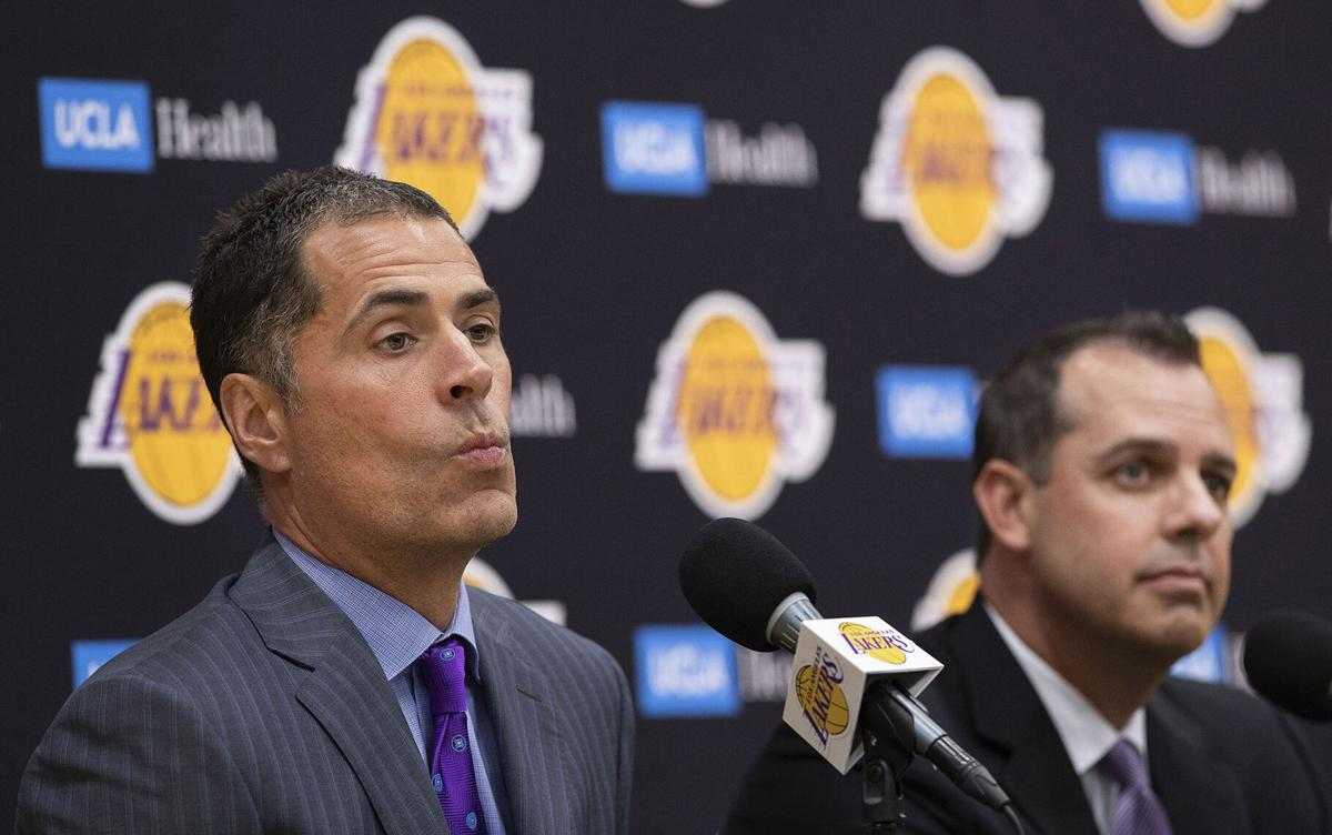 Los Angeles Lakers general manager Rob Pelinka, left, and head coach Frank Vogel, address the media during a news conference at the team's practice facility on May 20, 2019, in El Segundo, California.