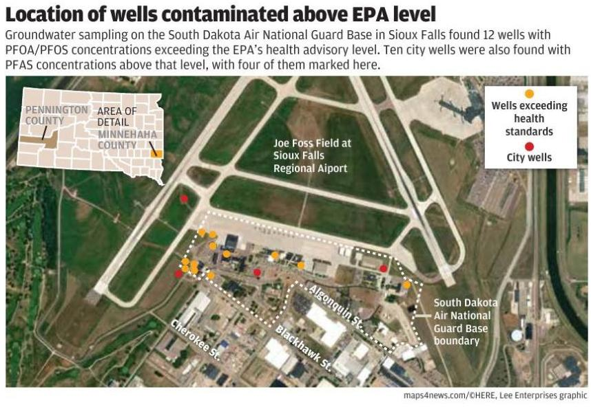 Sioux Falls Airport's contaminated well locations