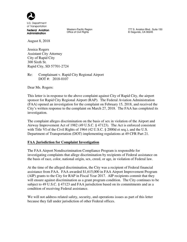 FAA's determination in the discrimination claim