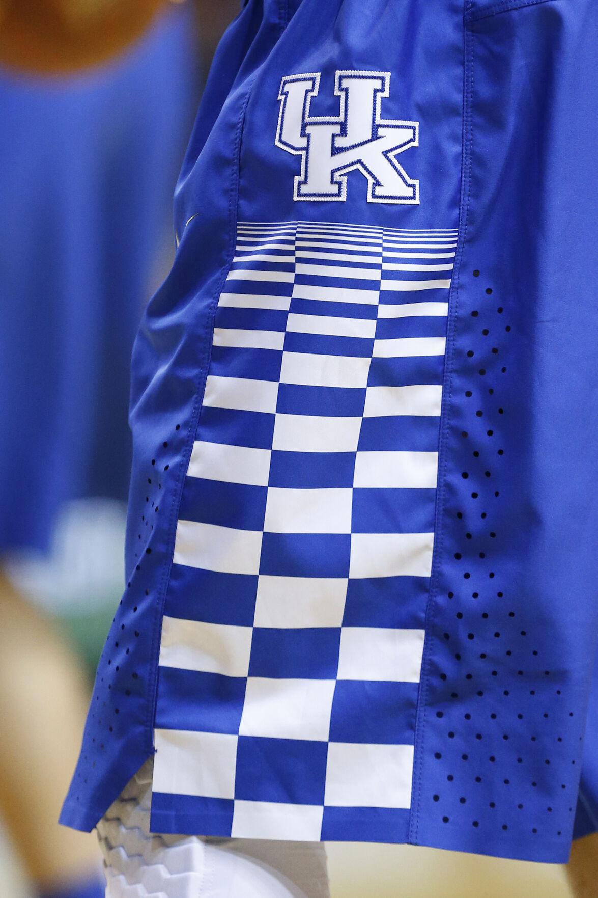 The Kentucky Wildcats logo on a player's shorts prior to a 2015 game against South Florida at the American Airlines Arena in Miami.
