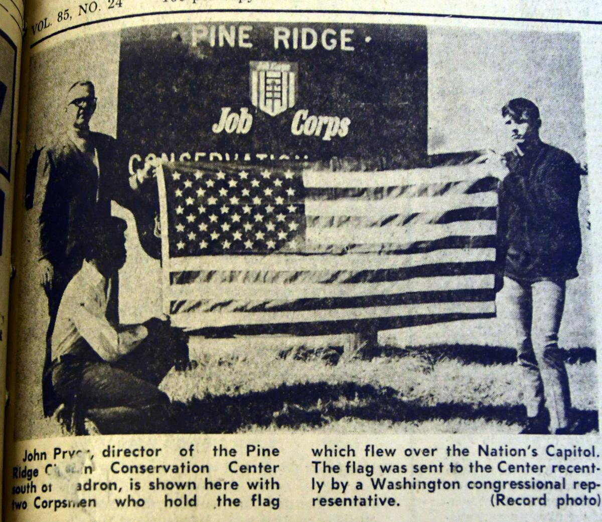 Corpsmen Receive Flag Which Flew Over Capital