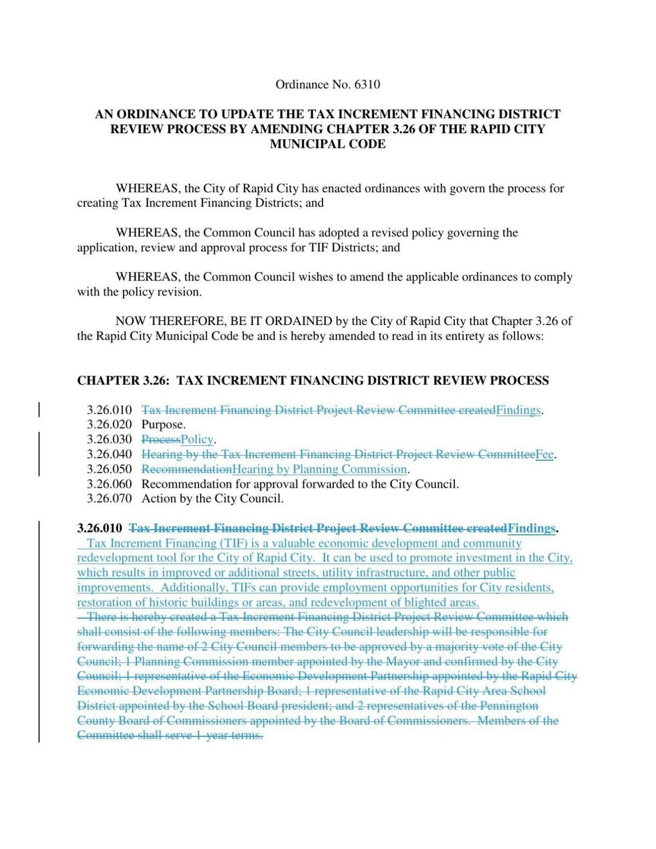 Proposed TIF ordinance