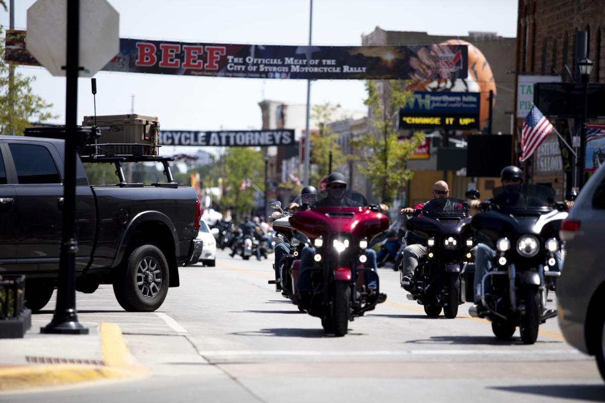 Motorcycles down Main Street