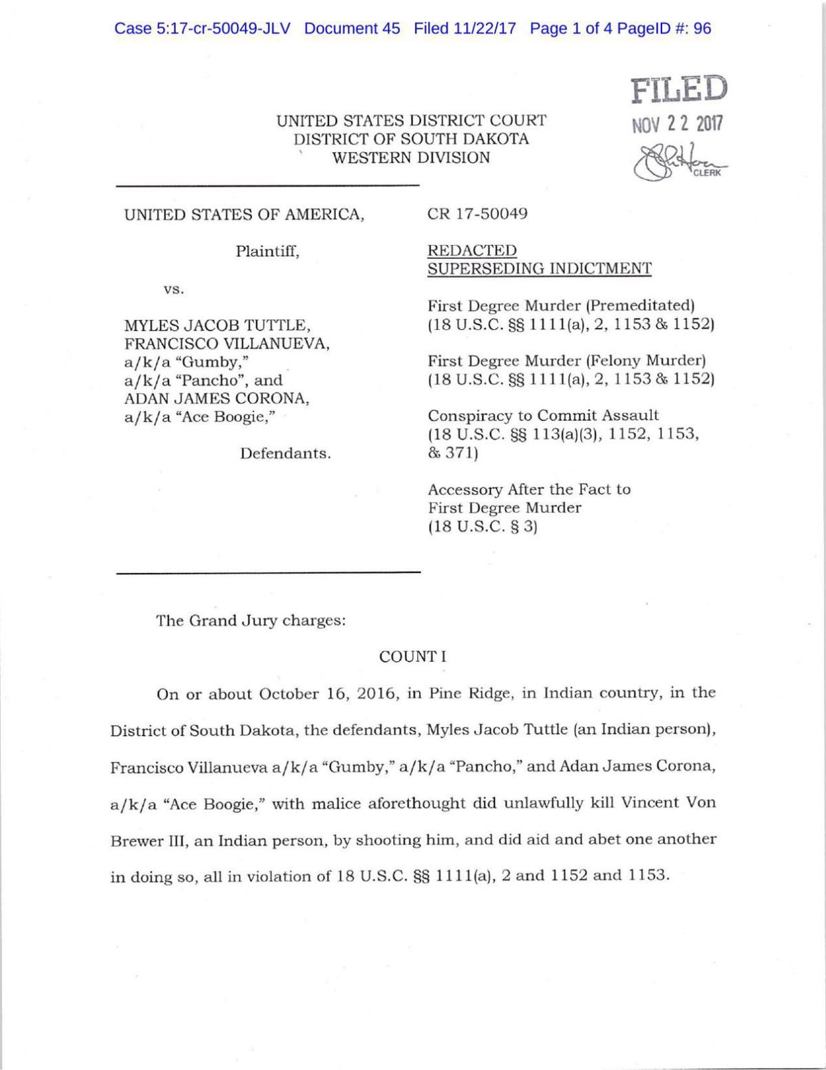 Tuttle, Villanueva and Corona - superseding indictment